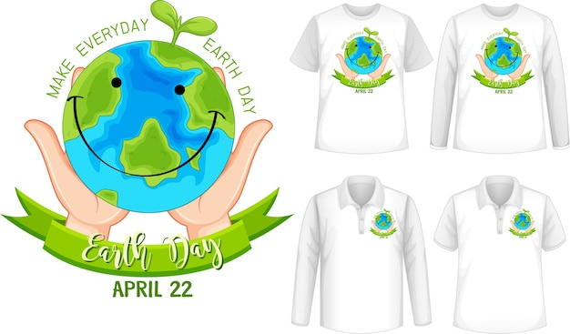 Template shirt with planet icon