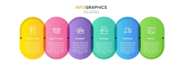 Template for shopping infographics illustration