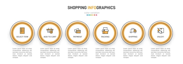 Template for shopping infographics. six options or steps with icons and text