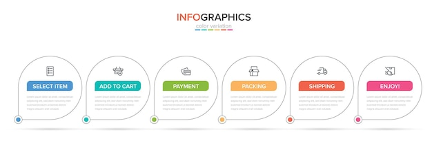 Template for shopping infographics six options or steps with icons and text