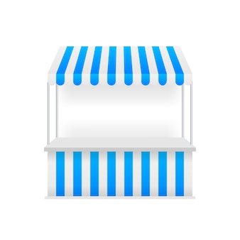 Template shopping stand with red and white striped awning, mock up