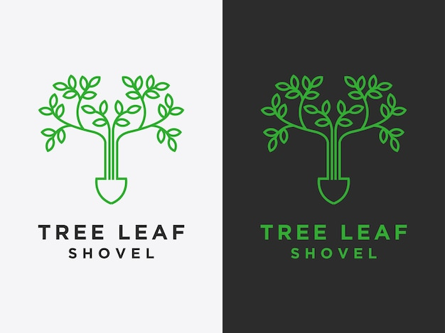 Template simple leaf logos are linear style vector designs