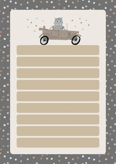 A template for simple planners and to-do lists for kids with cute illustrations in pastel colors. children planners, schedules, agenda, checklists, and other baby stationery in a scandinavian style.