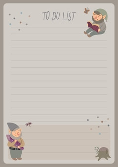 A template for simple planners and to-do lists for kids with cute illustrations in pastel colors