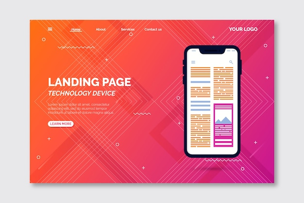 Template smartphone landing page