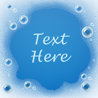 Template of soap bubbles and foam for laundry detergent on blue background with place for text