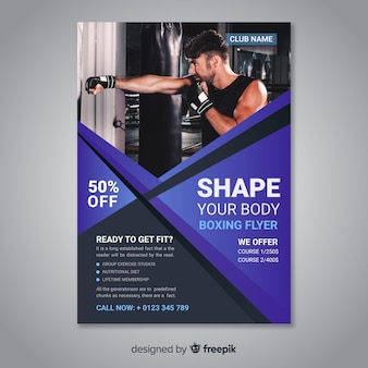 Template sport flyer with photo