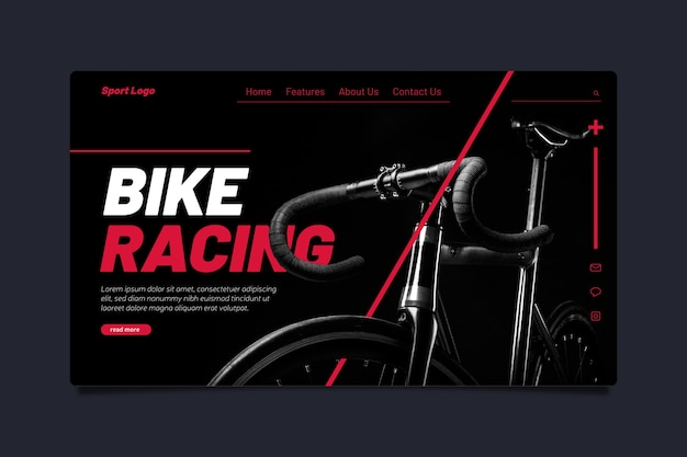 Template sport landing page with image