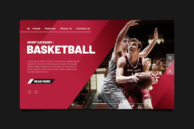 Template sport landing page with photo