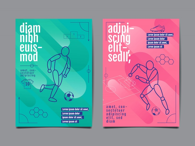 Template sport layout design, flat design, single line,  graphic illustration, football, soccer