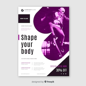 Template sport poster with image