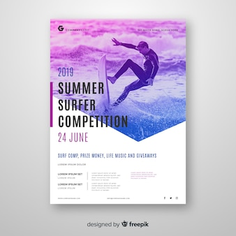 Template sport poster with photo