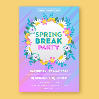 Template for spring break party poster
