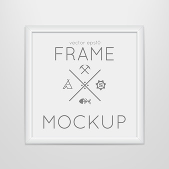 Template of square frame with poster