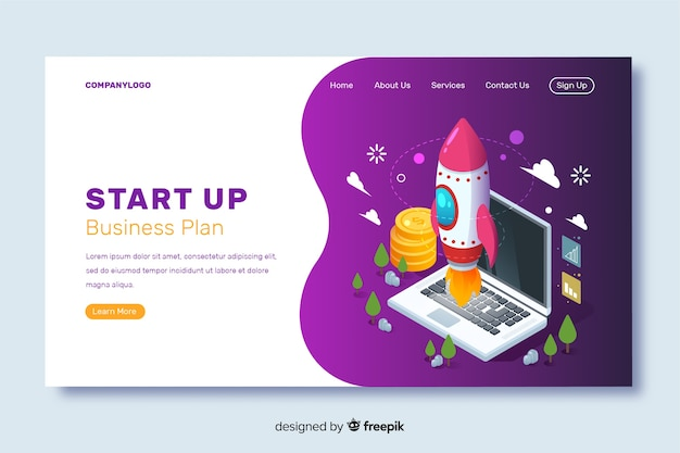 Template startup landing page in isometric design