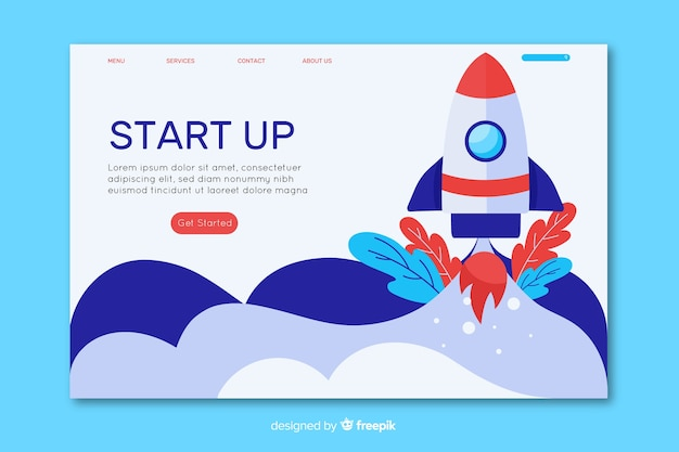 Template startup landing page