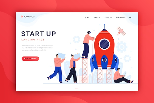 Template for startup landing page