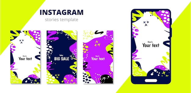 A template for stories on the social network instagram and a template phone