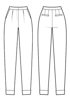 Шаблон костюм брюки брюки векторные иллюстрации плоский дизайн наброски одежды
