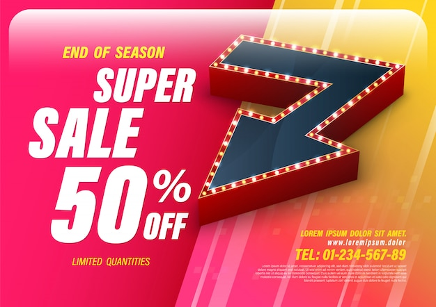 Template super sale with big retro arrow