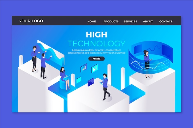 Template technology concept landing page