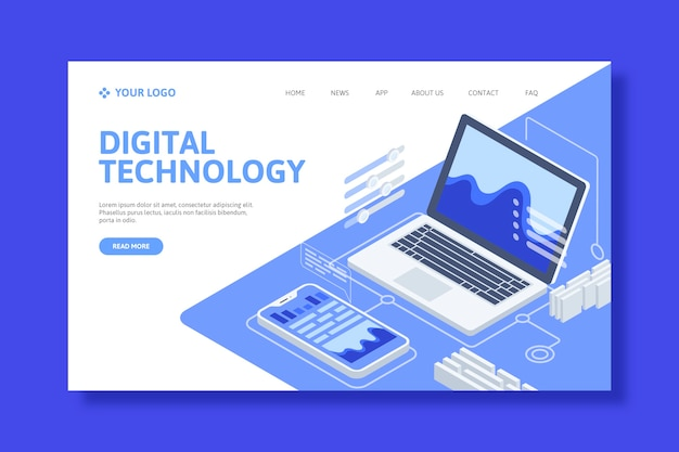 Template technology isometric landing page