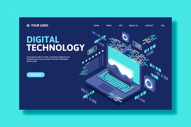 Template technology isometric landing page Free Vector