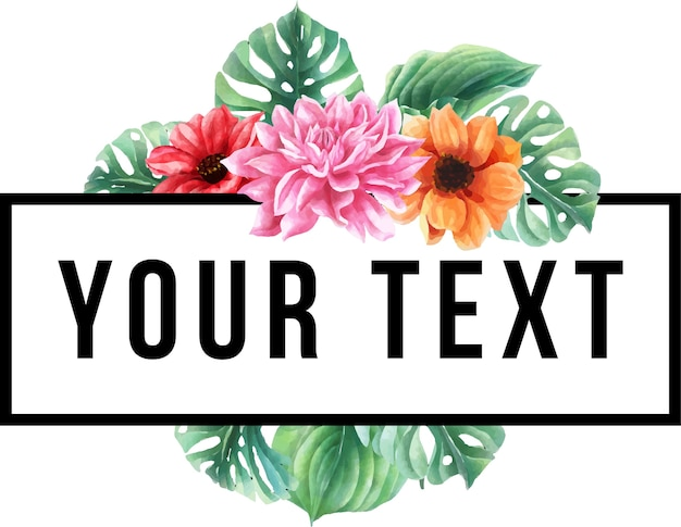 Template text floral