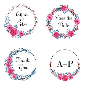 Template text with flower round frame