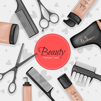 Template for text with a set of beauty items. cartoon style. vector illustration.