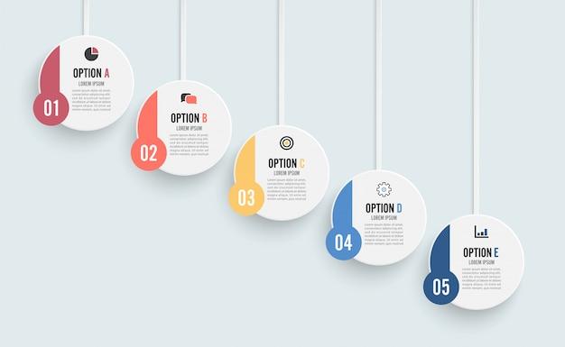 Шаблон временной шкалы горизонтальный инфографики пронумерованы пятью шагами