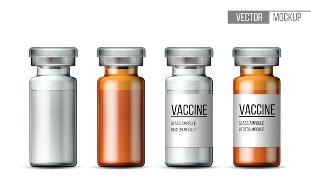 Template of transparent glass medical vial with aluminium cap. empty glass ampule and ampule with vaccine or drug for medical treatment. realistic 3d mockups of bottles with medicament for injection.