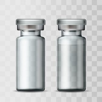 Template of transparent glass medical vial with aluminium cap. empty glass ampule and ampule with vaccine or drug for medical treatment. realistic  mockups of bottles with medicament for injection.