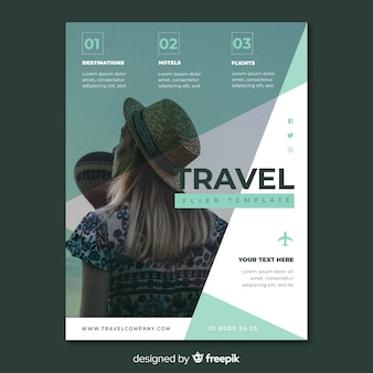 Template travel flyer with image