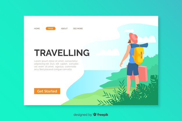 Template of travel landing page illustrated