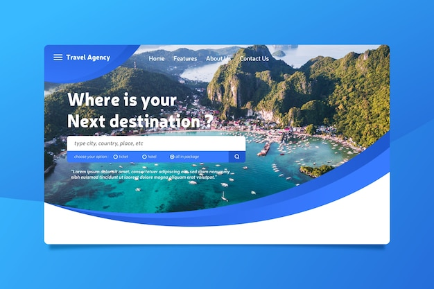 Template travel landing page with image