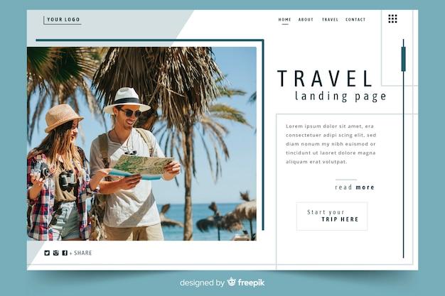 Pagina di destinazione del viaggio modello con foto