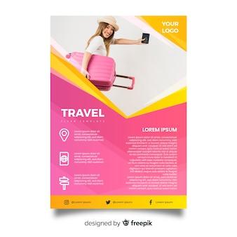 Шаблон туристического плаката с изображением
