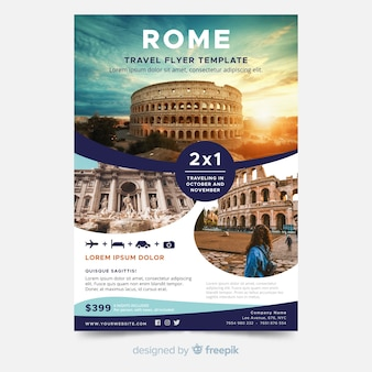 Template travel poster with photo