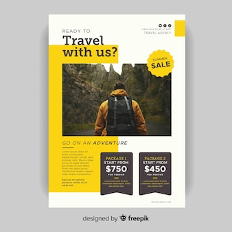 Template travel with us flyer with photo