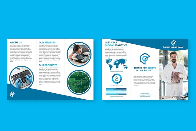 Template for trifold brochure format