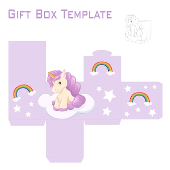 Template for unicorn gift box