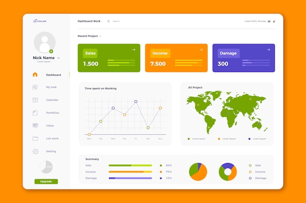 Template user panel dashboard