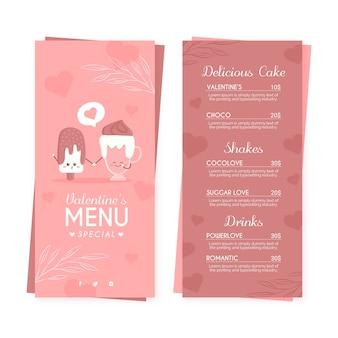 Template valentine's day flat menu