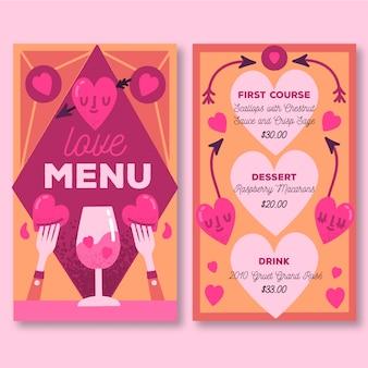 Template valentine's day hand-drawn menu