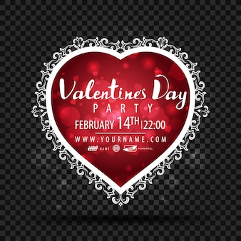 Template of valentine's day party in form of heart
