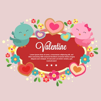 Template valentine with cute couple bird