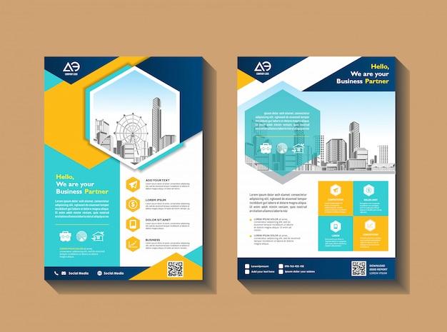 パンフレットアニュアルレポート雑誌ポスター企業プレゼンテーションのテンプレートベクトルデザイン