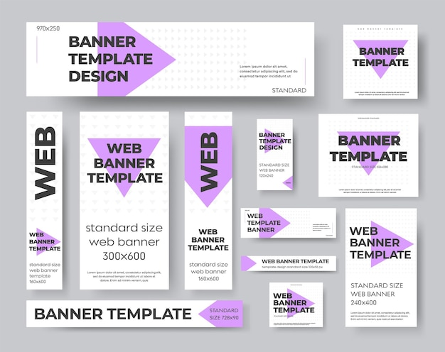 Вектор шаблона геометрические веб-баннеры с фиолетовыми и серыми треугольниками. дизайн для рекламы и социальных сетей. комплект стандартного размера