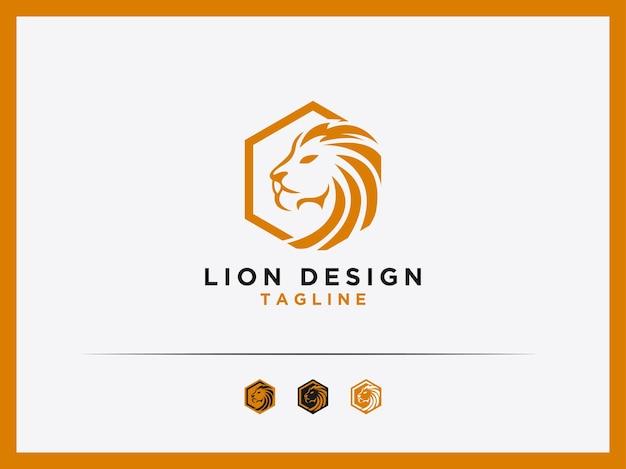 Шаблон векторный логотип лев дизайн шестиугольник монограмма
